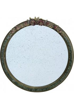 Evdebir Ahşap Çerçeveli Antik Yuvarlak Ayna