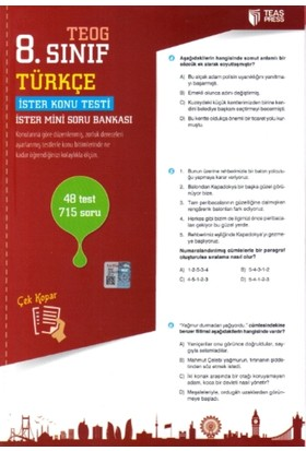 Teas Press Yayınları 8. Sınıf Teog Türkçe Yaprak Test Çek Kopar