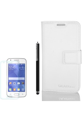 Gpack Samsung Galaxy Ace 4 Kılıf Standlı Serenity Cüzdan +Kalem + Cam
