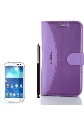Gpack Samsung Galaxy Grand Neo Kılıf Standlı Mmc Cüzdan Mor +Kalem + Cam
