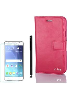 Gpack Samsung Galaxy J1 Ace Kılıf Standlı Serenity Cüzdan +Kalem + Cam