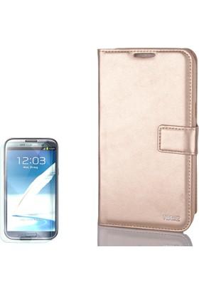 Gpack Samsung Galaxy Note 2 Kılıf Standlı Serenity Cüzdan + Cam