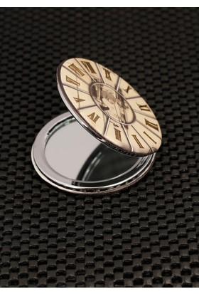 Hediyeliksepeti Roma Rakam Saat Tasarımlı Cep Aynası Ayn128