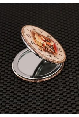 Hediyeliksepeti Saat Desenli Krem Renk Cep Aynası Ayn130