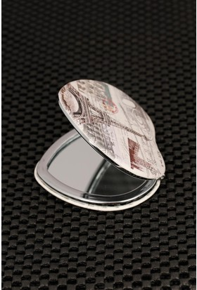 Hediyeliksepeti Paris Resimli Kalp Formlu Cep Aynası Ayn164