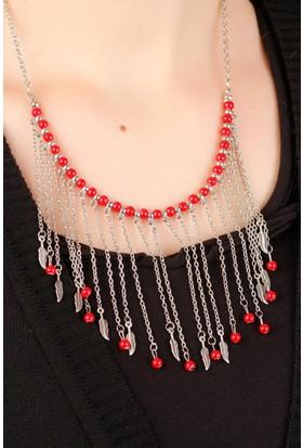 Hediyeliksepeti Gümüş Kaplama Zincir Tasarımlı Kırmızı Boncuk & Yaprak Figürlü Uzun Bayan Kolye Bko180