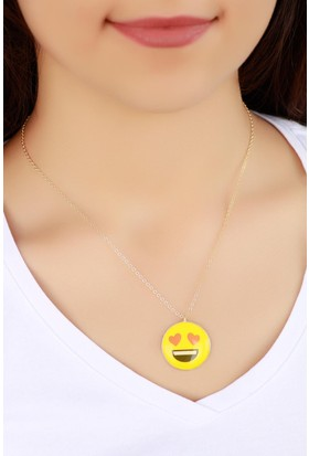 Hediyeliksepeti Trend Aşık Emoji Bayan Kolye Bko829