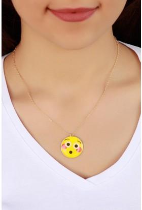 Hediyeliksepeti Trend Şaşkın İfadeli Emoji Bayan Kolye Bko831