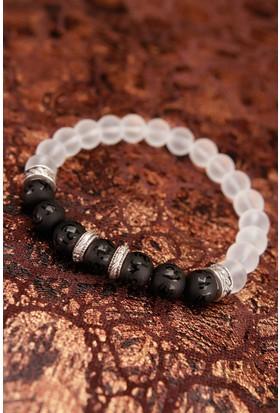 Hediyeliksepeti Beyaz Kuvars Siyah Mat Oniks Doğal Taş Erkek Bileklik Eb407