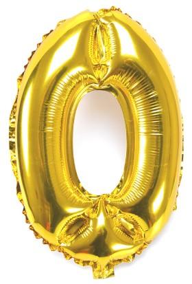 """Cin 16"""" 40 cm. 0 Rakamı Altın Rengi Folyo Balon cin84-0"""