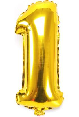 """Cin 16"""" 40 cm. 1 Rakamı Altın Rengi Folyo Balon cin84-1"""