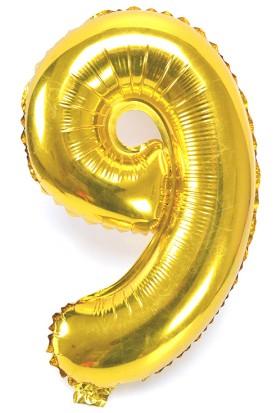"""Cin 16"""" 40 cm. 9 Rakamı Altın Rengi Folyo Balon cin84-9"""