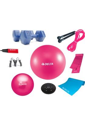 Delta Fuşya Deluxe Ultra Pilates Set + Egzersiz Multi-Set