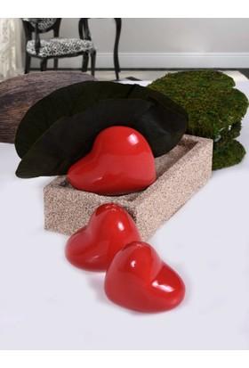 Keramika 3 Parca Kırmızı Tuzluk-Biberlik-Pecetelik Takımı
