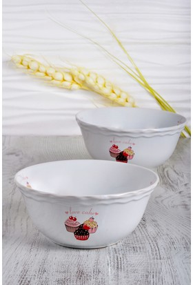Keramika 2 Adet 25 Cm Pınk Cake Julıet Salata Kasesı