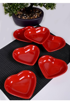 Keramika 6 Parça 14 Cm Kırmızı Bayrak Kalp Cerezlik