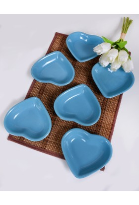 Keramika 6 Parça 14 Cm Turkuaz Kalp Cerezlik