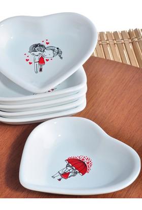 Keramika 6 Parça 14 Cm Red Love Kalp Çerezlik
