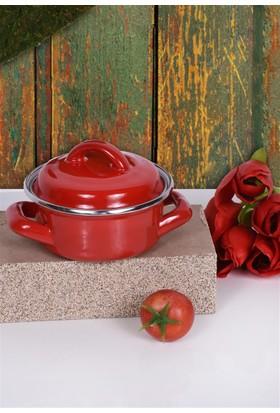 Keramika 2 Parca 12 Cm Kırmızı Emaye Tencere