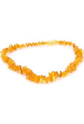 Kehribar Dünyası Bal Rengi Naturel Chips Kehribar Bebek Diş kolyesi -32