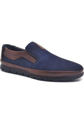Libano Hakiki Deri Lacivert Kahverengi Ortopedik Erkek Ayakkabısı