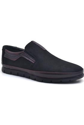 Libano Hakiki Deri Siyah Bordo Ortopedik Erkek Ayakkabısı