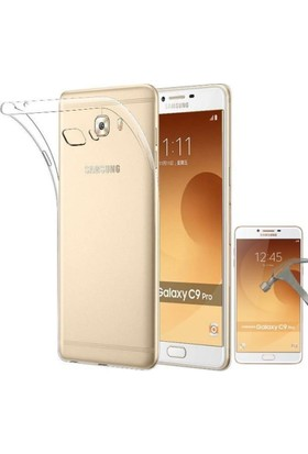 Teknoarea Samsung Galaxy C9 Pro Darbe Emicili Silikon Kılıf + Cam