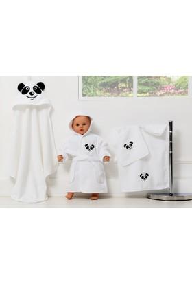 Cozy&Comfy Bebek Bornoz Havlu Kundak Seti Takım Panda