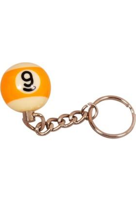 Pusula Oyun Belçika Aramith Fosforlu 9 Numara Bilardo Topu Anahtarlık (Gece Parlar)