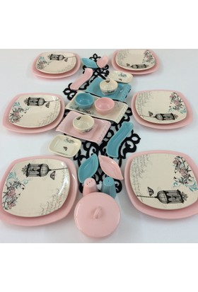 Keramika 31 Parça 6 Kişilik Retro Turkuaz Pembe Kahvaltı Takımı