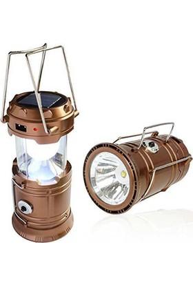 Gold Kama Avcı Feneri Kamp Lambası Usb Girişli + Kamp Feneri Güneş Enerjili
