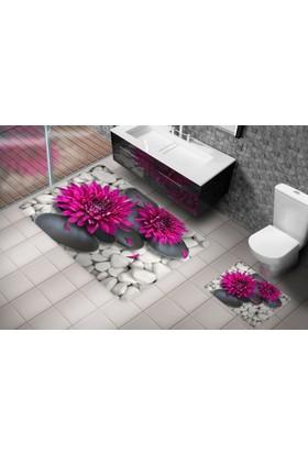 Cici Halı Gri Ve Beyaz Taşlar Üzerinde Mor Dahlia Çiçeği, 3 Boyutlu Klozet Takımı / Banyo Halısı