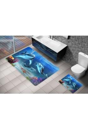 Cici Halı Yunus Balıklı Deniz Altı 3 Boyutlu Klozet Takımı / Banyo Halısı