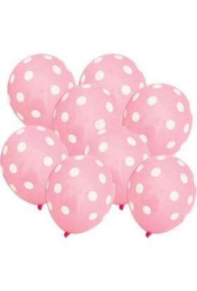 Toptancı Kapında Puanlı Balon 100 Adet - Pembe - Beyaz