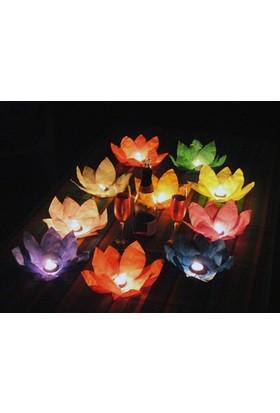 Toptancı Kapında Nilüfer (Çiçek) Su Feneri (5 Adet)