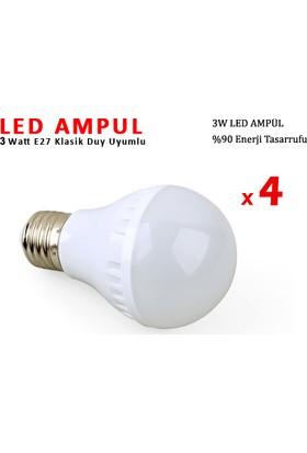 Toptancı Kapında 3W Enerji Tasarruflu Led Ampul ( 4 Adet )