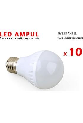 Toptancı Kapında 3W Enerji Tasarruflu Led Ampul ( 10 Adet )