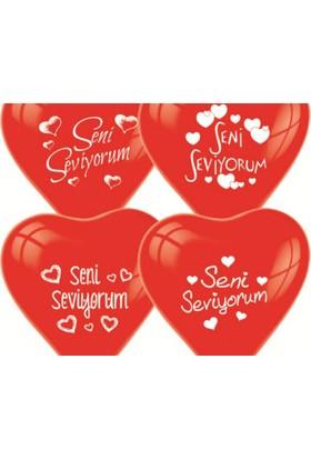 Toptancı Kapında Seni Seviyorum Yazılı 10'lu Kalp Balon