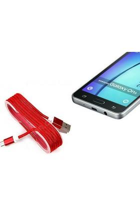 Toptancı Kapında Android Örgü Şeklinde Renkli Çelik Şarj Data Kablosu - Kırm