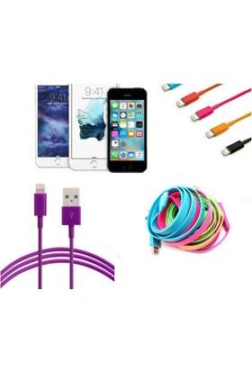 Toptancı Kapında Renkli iPhone 5 5S 6 6S USB Data Kablosu - Mor