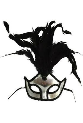 Toptancı Kapında Kumaş Venedik Parti Maskesi - Gri