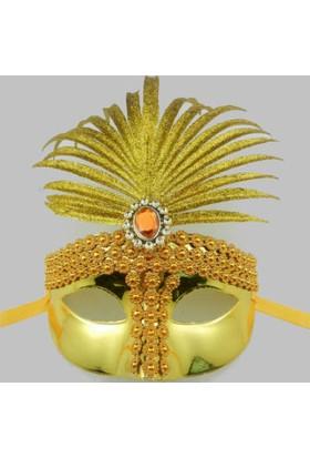 Toptancı Kapında Venedik Parti Maskesi - Sarı