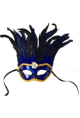 Toptancı Kapında Bol Tüylü Venedik Parti Maskesi - Mavi