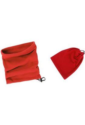 Toptancı Kapında Polar Bere Boyunluk Unisex - Kırmızı