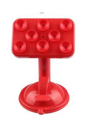Toptancı Kapında Renkli Araç İçi Vantuzlu Telefon Tutucu - Kırmızı