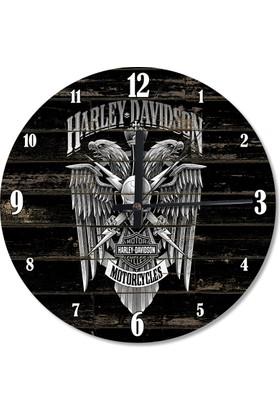 Tablomega Harley Davidson Ahşap Duvar Saati