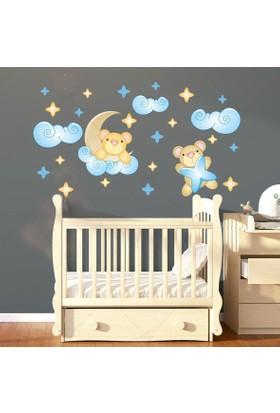 DekorLoft Uyku Ayıcıkları Çocuk Odası Sticker CS-249 Mavi