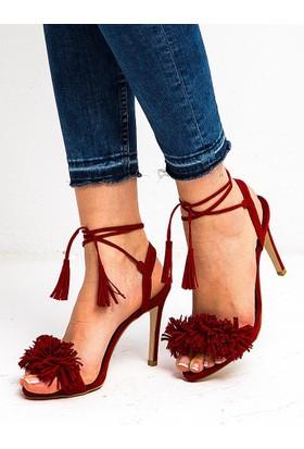 Mecrea Clorinda Kırmızı Süet Püskül Topuklu Sandalet