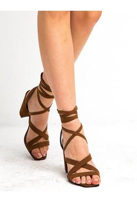 Mecrea Nancy Taba Süet Sarmal Bağlı Topuklu Sandalet