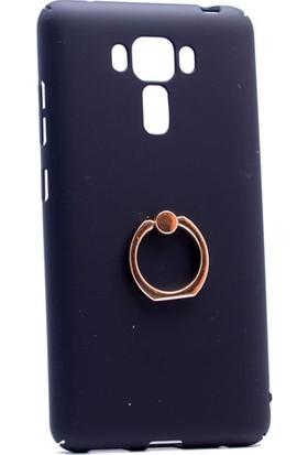 Case 4U Asus Zenfone 3 Laser ZC551KL Yüzüklü Sert Arka Kapak Siyah